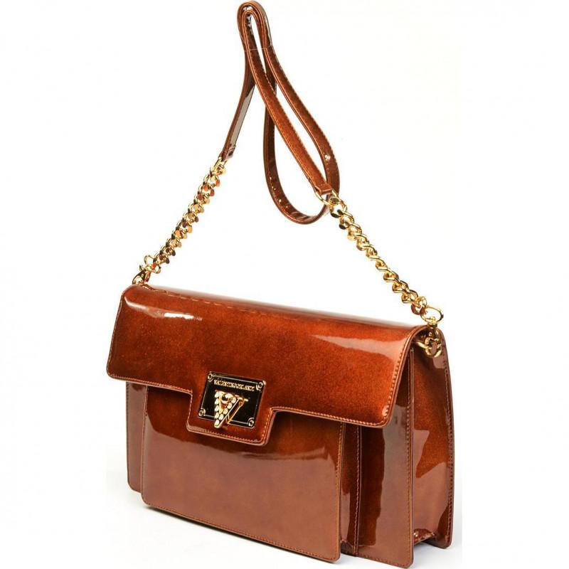 Золотистая сумка-клатч из качественной лакированной натуральной кожи VO3747 grease cris2347 vernice