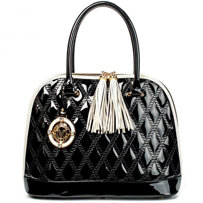 Сумка из натуральной лакированной кожи чёрного цвета VO 5445 black patent leather
