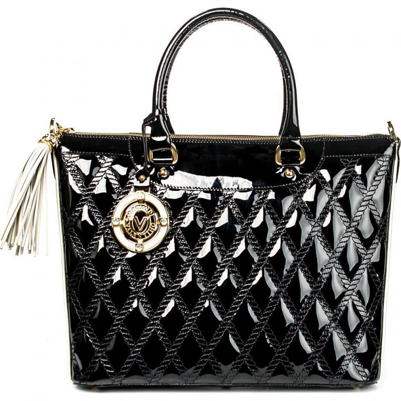 Чёрная сумка из лакированной кожи на молнии с короткими ручками VO 5447 black patent leather