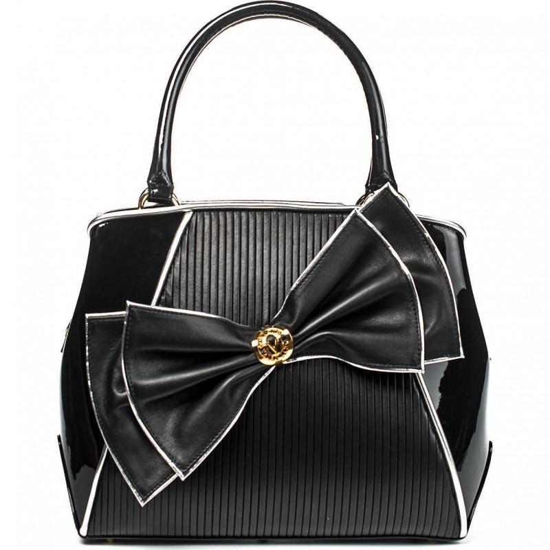 Вечерняя чёрная сумка из лакированной кожи необычной формы VO 5574VER black soft leather
