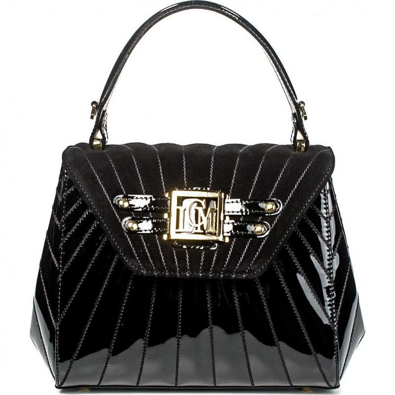 Трапециевидная вечерняя сумка-клатч из чёрной кожи VO LCM1036V black patent leather
