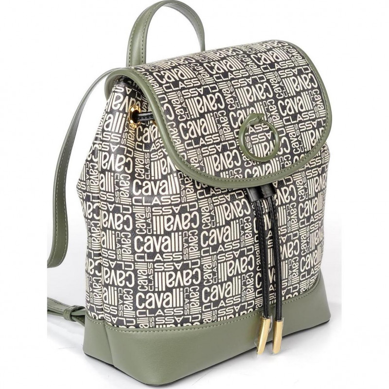 Сумка-рюкзак женская Cavalli Class C92PWCSD0055B03 black/green Monogram 005