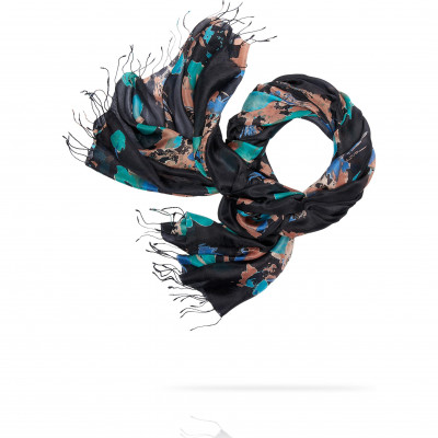 Палантин Женский S30-BRUSH.FLOWER/GREY (110 x 180)