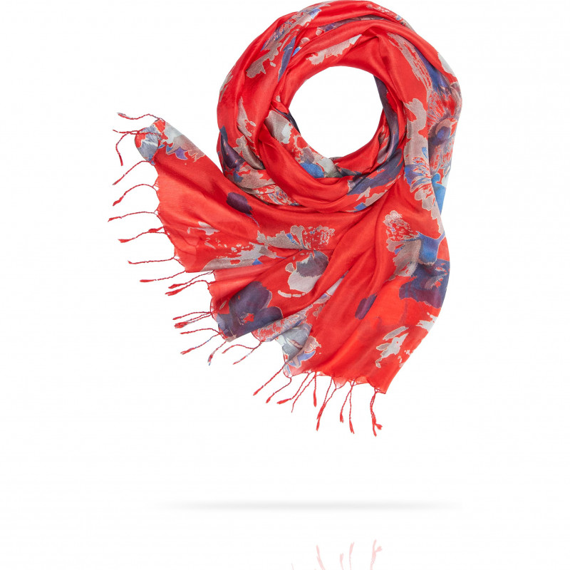 Палантин Женский S30-BRUSH.FLOWER/RED (110 x 180)
